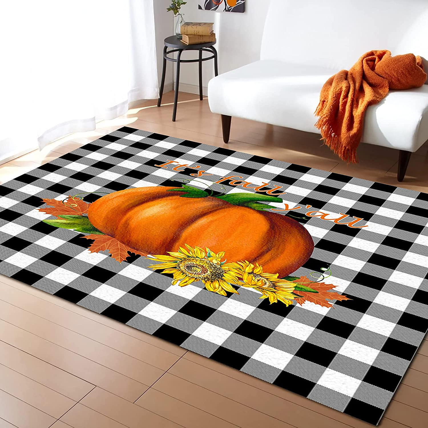 KITHOME Contemporary Non-Slip Area Rug Over item handling ☆ Fall o Pumpkin Y'all outlet It's