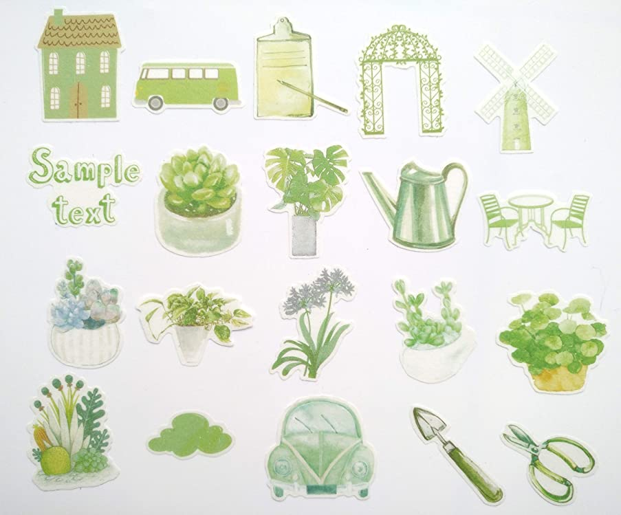 Cute Watercolor Succulent Plants and Green Garden Style Stickers for Your Laptop, Water Bottle, and Scrapbook by WEBESTER (40 Pieces)