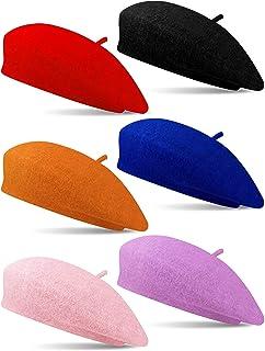 Zhanmai 6 قطع أطفال قبعات بيريه الفرنسية الشتاء الدافئ الفنان بيريه قبعة صغيرة للبنات والأولاد