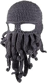 Kafeimali Men's Head Barbarian Vagabond Beanie Original Foldaway Beard Octopus Pirate Hats Bearded Caps