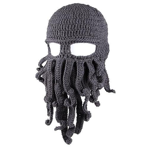f44d1f1b4 Kafeimali Men's Head Barbarian Vagabond Beanie Original Foldaway Beard  Octopus Pirate Hats Bearded Caps