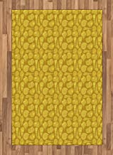 Shells Area Rug, Stylized Ornamental Illustration of Long Tail Cabrits Murex, Non Slip Rug Pad 4' x 5.7' Rectangle, Safe for Hardwood Floors and All Surfaces