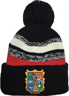 Escudo DE Tamaulipas Beanie POM POM HAT Black RED White