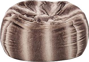 Francis Modern 3 Foot Faux Fur Bean Bag (Cover Only), Oak Brown Stripes