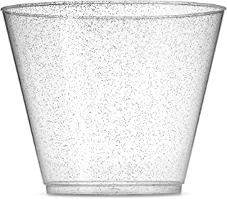 100 Glitter Plastic Cups - 9 Oz Clear Plastic Cups Old Fashioned Tumblers -Silver Glitter Cups Disposable Wedding Cups Party Cups