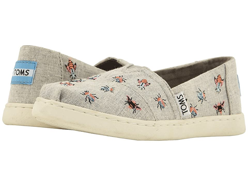 TOMS Kids Alpargata (Little Kid/Big Kid) (Drizzle Grey Embroidered Bugs) Girl