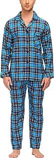 JINSHI Men's Pyjamas Set 100% Cotton Check Long Sleeve Nightwear Sleepwear Soft Warm Lounge wear Pjs Set