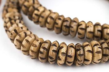 Brown Inlaid Yak Bone Mala Beads 8mm Nepal Round Large Hole 28 Inch Strand