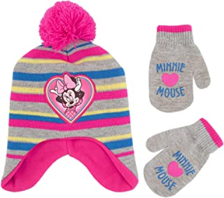 Disney Girls' Toddler Minnie Mouse Pom Hat and Mittens Cold Weather Set, pink/grey, Age 2-4