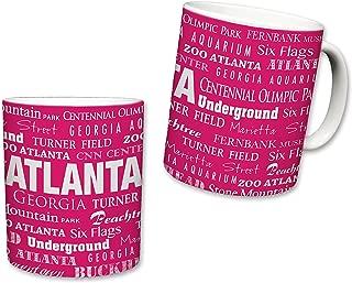 Sweet Gisele   City of Atlanta Mug   Ceramic Coffee Cup   Georgia Pride   Printed Text Theme   Area Landmarks   Cute Pink & White Detailing   Great Novelty Gift   11 Fl. Oz