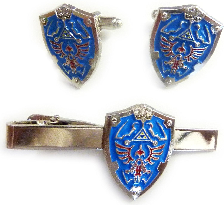 Video Game Collectibles Legend of Zelda Hylian Triforce Mini Shield TIE BAR Clip Cufflinks Set