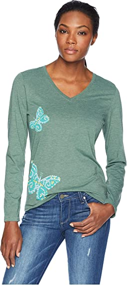 Mosaic Butteflies Cool Long Sleeve Vee