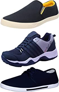 Chevit Men's Combo Pack of 3 Casual & Sports Shoes (Loafers, Sneakers & Running Shoes)