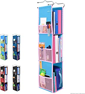 3 Shelf Hanging Locker Organizer for School, Gym, Work, Storage - Upgraded | Abra Company | Eco-Friendly Fabric Healthy for Children | Adjustable School Locker Shelf from 3 to 2 Shelves (Blue/Pink)
