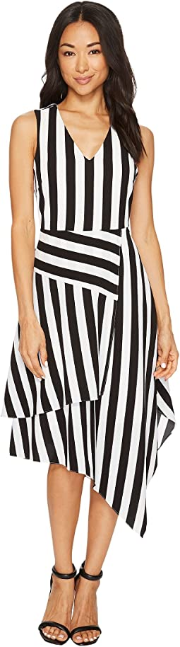Sleeveless Spectator Stripe Asymmetrical Hem V-Neck Dress