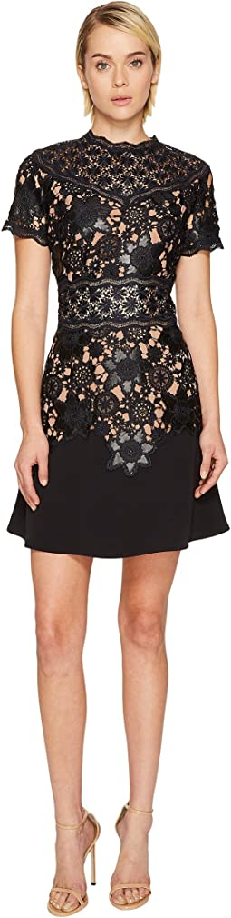 The Kooples - Short Sleeve Dress with Lace Detail On The Top and Waist