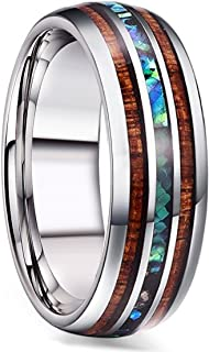 8MM Titanium Wedding Band Ring for Men Women Wood and Abalone Shell Inlaid Size 7-14