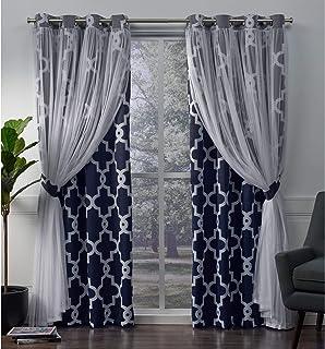 Exclusive Home Curtains Alegra Woven Blackout Grommet Top Panel Pair, Indigo, 52x96, 2 Piece