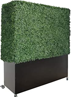 Artigwall Artificial Boxwood Hedge Divider Wall with Planter Box and Stainless Steel Caster