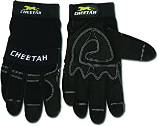 MCR Safety 935CHL Cheetah Synthetic Leather Mechanic Style Gloves with Vented Finger Sidewalls and Fourchettes, Black, Large, 1-Pair