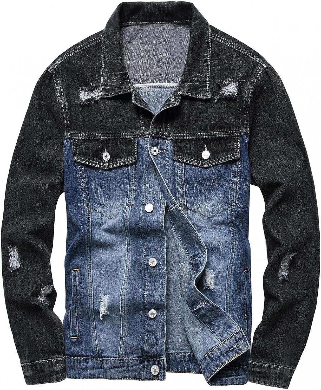Huangse Jean Jacket for Men Ripped Denim Jacket Slim Fit Fashion Long Sleeve Jacket Trucker Jacket Coats