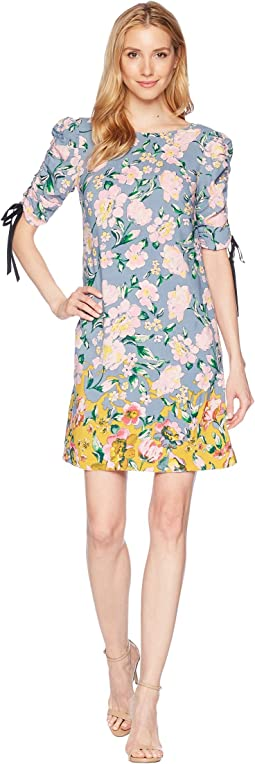 Printed Rayon T-Shirt Dress with Gathered Sleeve