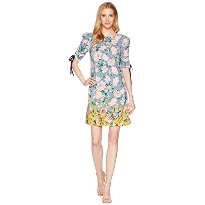 Donna Morgan Printed Rayon T-Shirt Dress with Gathered Sleeve (Dusty Blue/Pink) Women