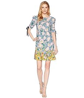 Printed Rayon T-Shirt Dress with Gathered Sleeve