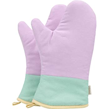 NEOVIVA Heat Resistant Oven Mitts for Everyday Kitchen, Cotton Oven Mitt Set of 2 for Adults, Pail Lilac Amethyst