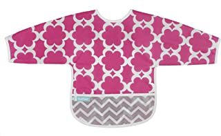 Kushies Cleanbib Waterproof Feeding Bib with Sleeves and Catch All/Crumb Catcher Pocket. Wipe Clean and Reuse! Lightweight for Comfort, Baby Girls, 6-12 Months, Fuchsia Modern Flowers