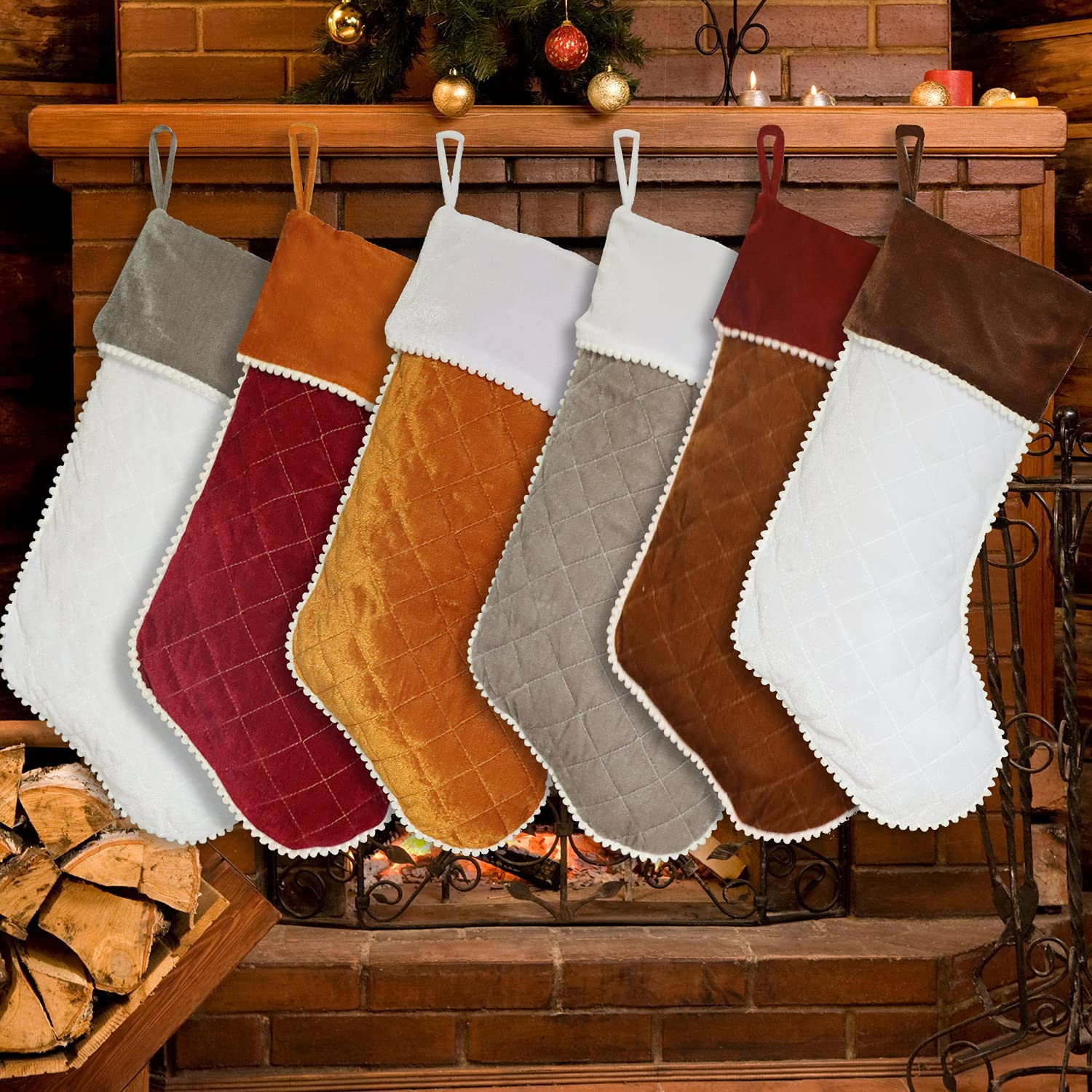 Christmas Stockings 6 Pack Velvet Luxury Large Discount mail SEAL limited product order Family