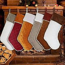 Christmas Stockings 6 Pack, Large Luxury Velvet Family Christmas Stockings for Farmhouse Décor, Classic Traditional Xmas S...