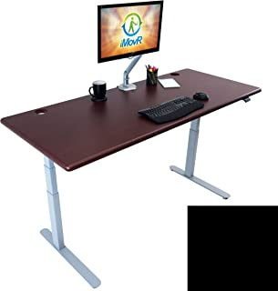 Lander Electric Adjustable Height Sit Stand Desk, Silver Base (Black Top, 30