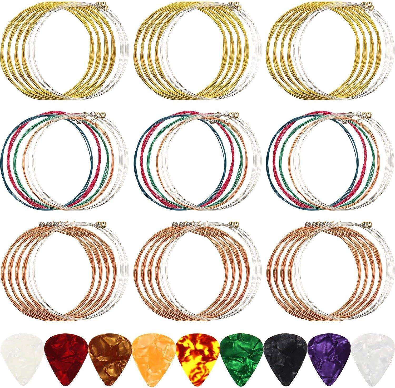 ANYTHLY Cuerdas de colores para guitarra acústica, juego de 6 cuerdas disponible en tres colores (1 juego de latón, 1 juego de cobre y 1 juego multicolor)