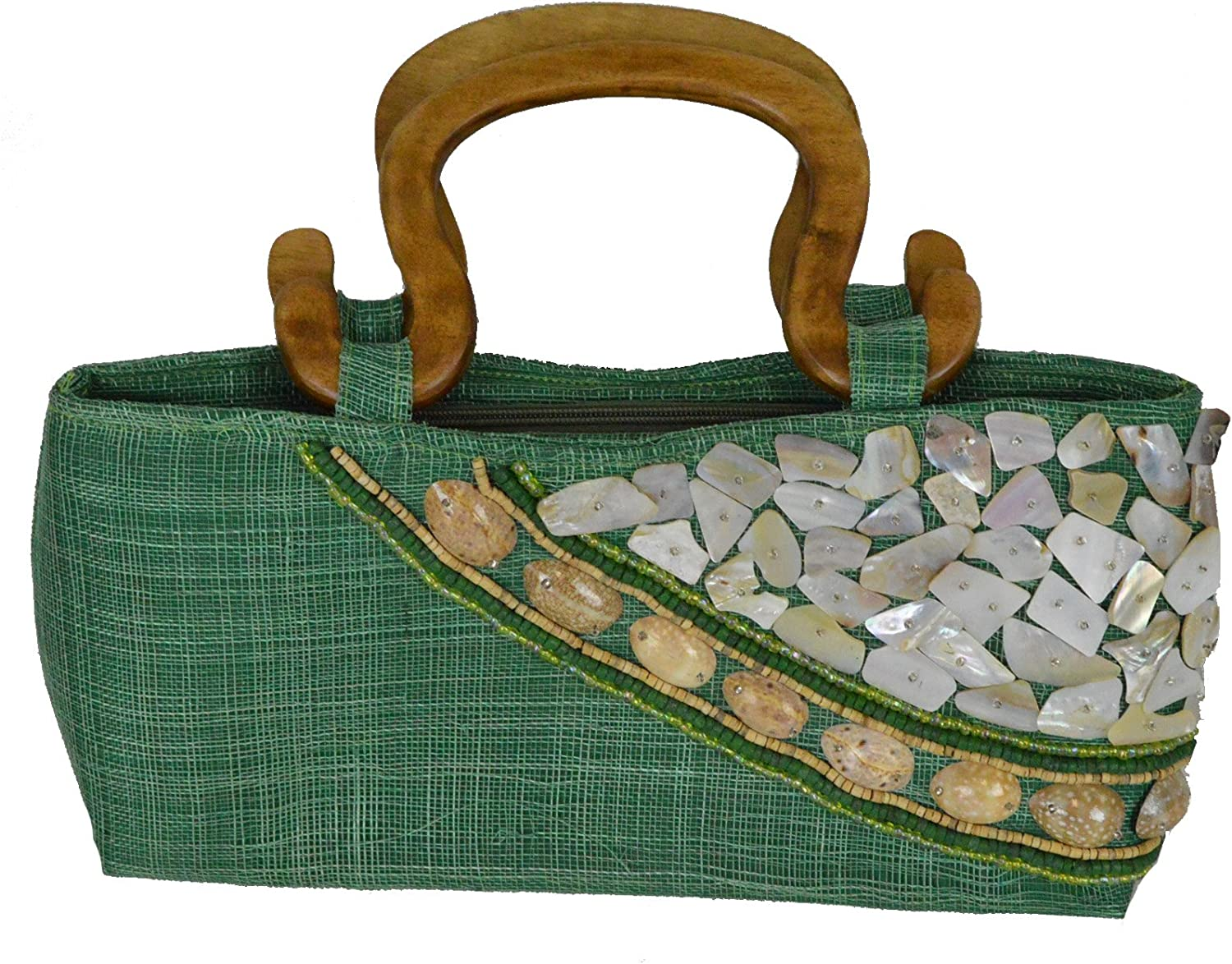 15 L Maui Emerald Green Small ToteStyle Handbag with Seashell and Beads Inlay and Double Wood Handles