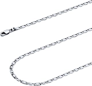 14k REAL Tri Color OR White Gold Solid 2.5mm Valentino Diamond Cut Chain Bracelet with Lobster Claw Clasp - 7