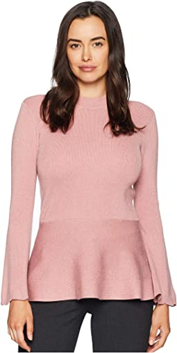 Flared Long Sleeve Peplum Sweater