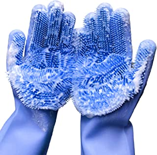 Forliver Washing Cleaning Gloves, 1 Pair Reusable Silicone Brush Scrubber Gloves Heat Resistant, for Dish wash, Kitchen Cl...