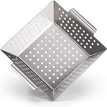 Blumtal Grillkorb aus 100% Edelstahl - perfekt für Grillgemüse, Grillschale geeignet für alle Grillarten, 21 x 21 x 6 cm Medium
