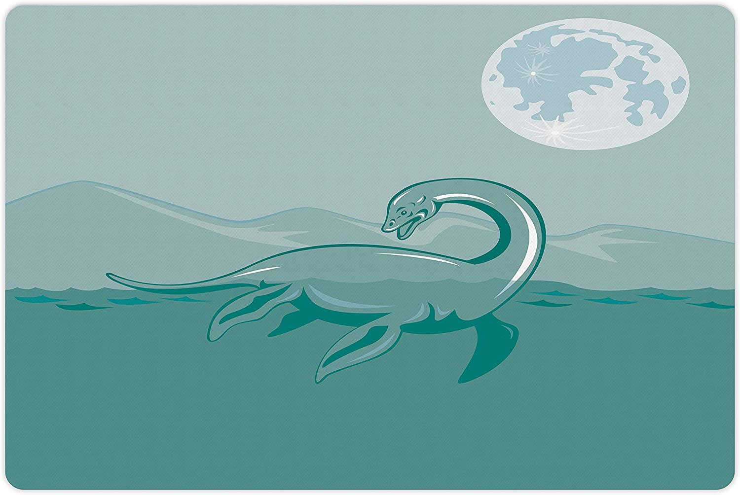Lunarable Jurassic Pet Mat for Food Ness Loch Monster and outlet latest Water
