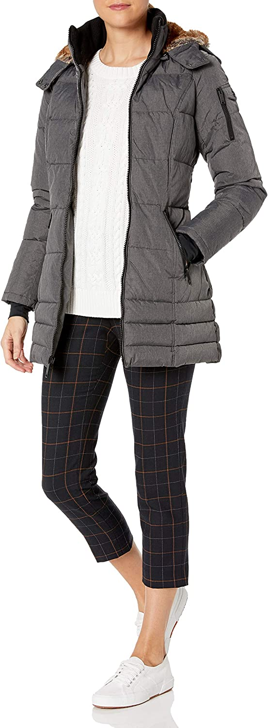 HFX Women's 3/4 Puffer with Full Faux Fur Hood