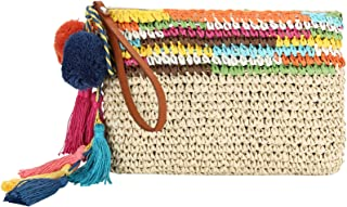 Colorful Clutch- Straw Handbag with Vegan Leather Handles and Pom Poms