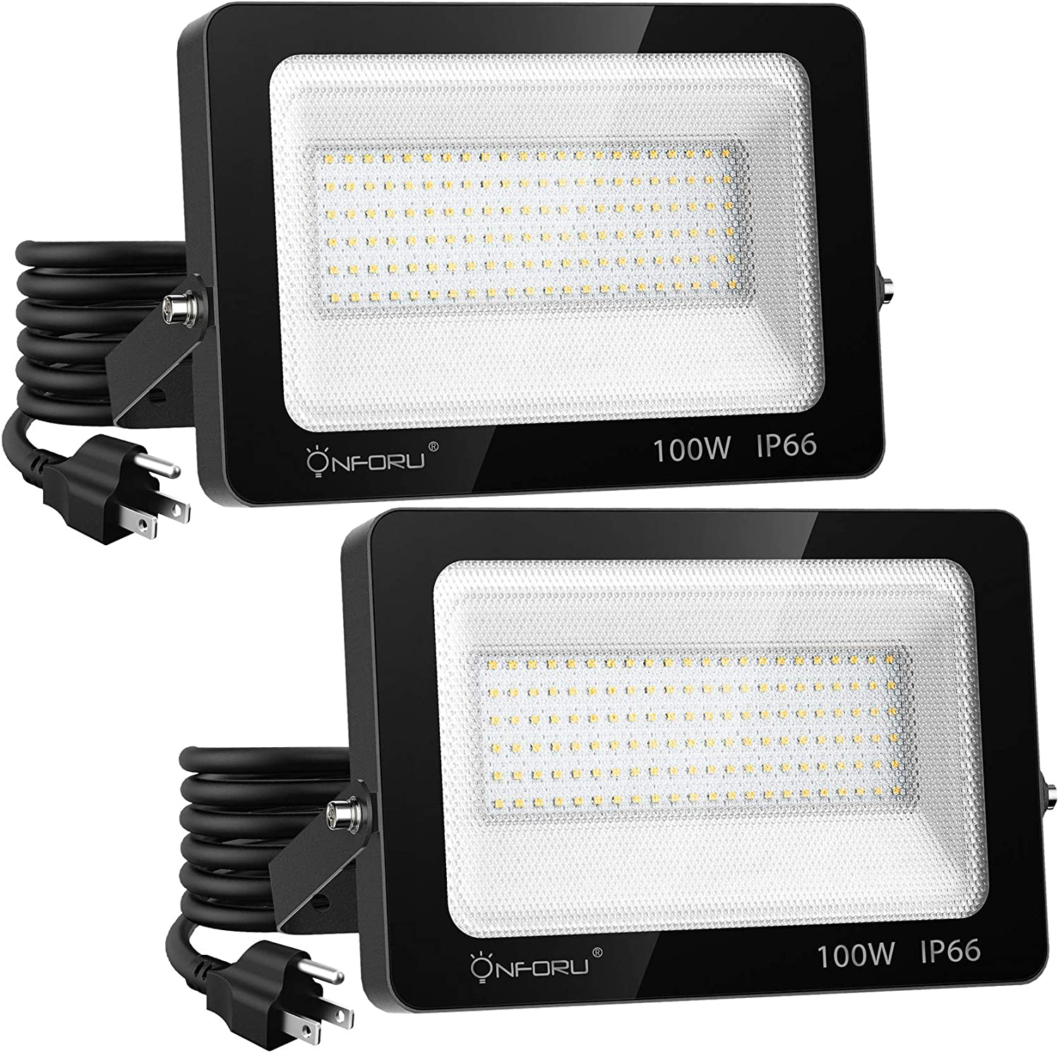 Onforu 2 Pack 100W LED Flood Light with Plug 700W Equiv., 10000lm Super Bright LED Work Light, IP66 Waterproof Outdoor Security Lights, 6000K Daylight White Floodlight for Yard Garden Patio Playground
