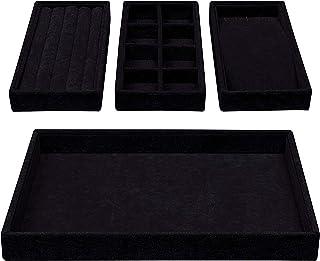 Paquet de 2 Plateaux De Rangement Muti-Fonctionnels Plateau Plat Plat pour Parfum Cosm/étique Noir BelongsYou Plateaux Organisateur De Bijoux en Acier Inoxydable