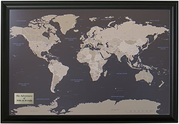 Push Pin Travel Maps Personalized Earth Toned World With Black Frame And Pins 27 5 Inches X 39 5 Inches