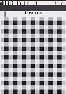 RUSPEPA 12x15.5 Poly Mailers 3 Mil Thick Black White Plaid Self Adhesive Shipping Bags with Easy Open Pull Tab Mailing Envelopes - 50 Pack