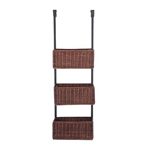 SEI Furniture Over-The- Door 3-Tier Woven Basket Storage, Espresso with Black