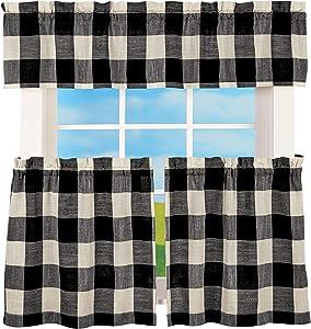 LORRAINE HOME FASHIONS Courtyard Plaid Buffalo Check Kitchen Curtains (52
