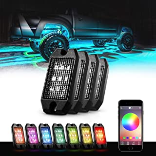 GoodRun Rock Lights RGB LED underglow kit with Bluetooth Controller, RGB remote controll & Timing Function & Music Mode for Underglow Off Road Truck SUV - 4 Pods