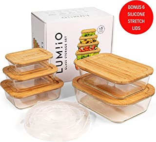 Glass Food Storage Containers with Lids (Bamboo) Set of 5. Bonus 6 Silicone Stretch Lids. BPA Free, Plastic Free & Eco Friendly Food Storage. Glass Meal Prep Containers for Lunch and Leftovers.